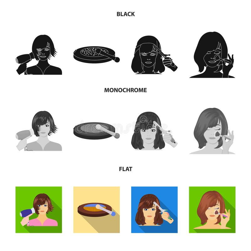 Salon, care, hygiene and other web icon in black, flat, monochrome style. Hands, hairdresser, beauty, icons in set. Salon, care, hygiene and other icon in black stock illustration