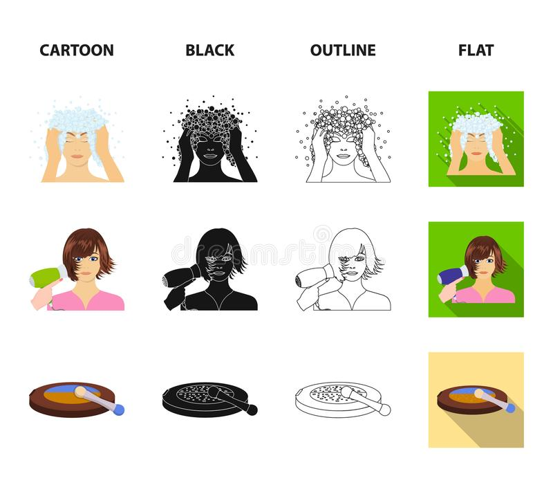 Salon, care, hygiene and other web icon in cartoon,black,outline,flat style. Hands, hairdresser, beauty, icons in set. Salon, care, hygiene and other icon in stock illustration