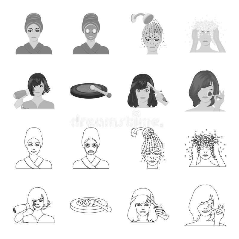 Salon, care, hygiene and other web icon in outline,monochrome style. Hands, hairdresser, beauty, icons in set collection. Salon, care, hygiene and other icon in stock illustration