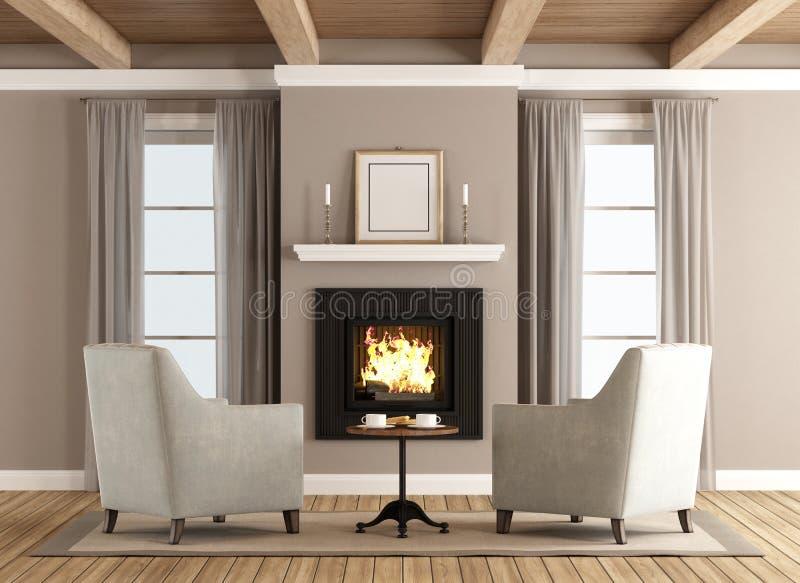 Salon classique avec la cheminée illustration de vecteur
