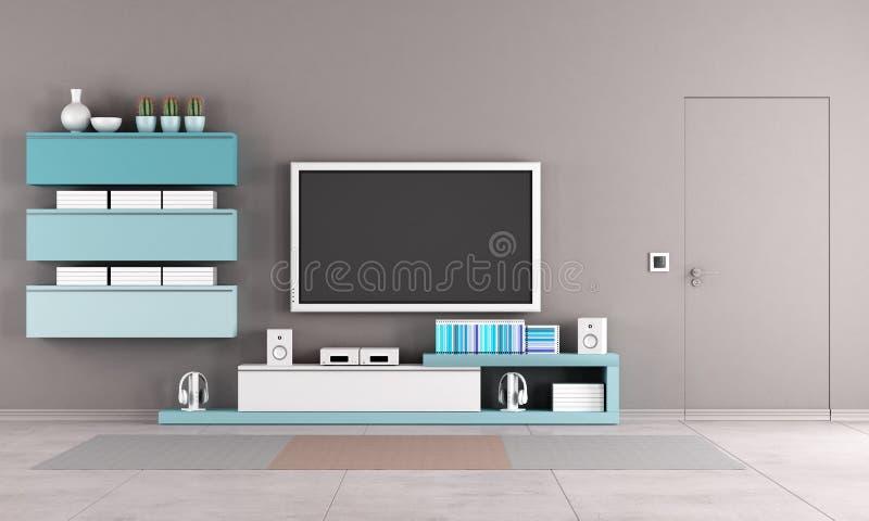 Salon coloré avec le support de TV illustration stock