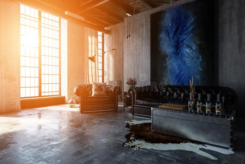 Salon concret poli avec les fenêtres lumineuses illustration de vecteur
