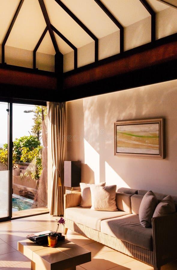 Salon confortable chaud de style contemporain avec le bon divan de conception images libres de droits