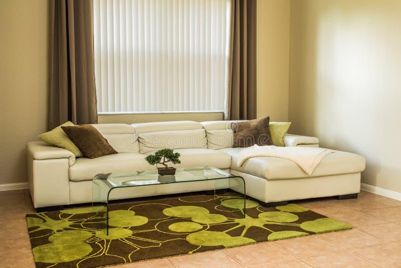 Salon confortable dans des couleurs vertes olives images stock