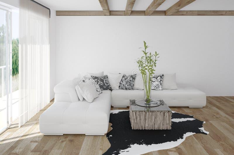 Salon confortable moderne avec la peau d'animal illustration stock