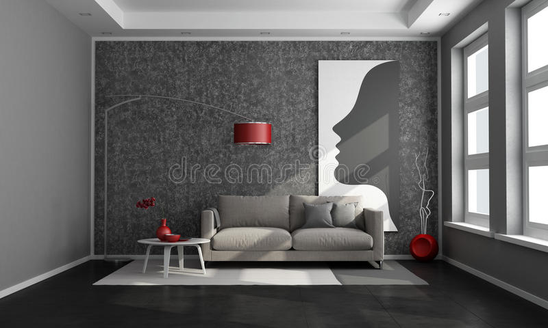 Salon contemporain noir illustration stock. Illustration du pièce ...