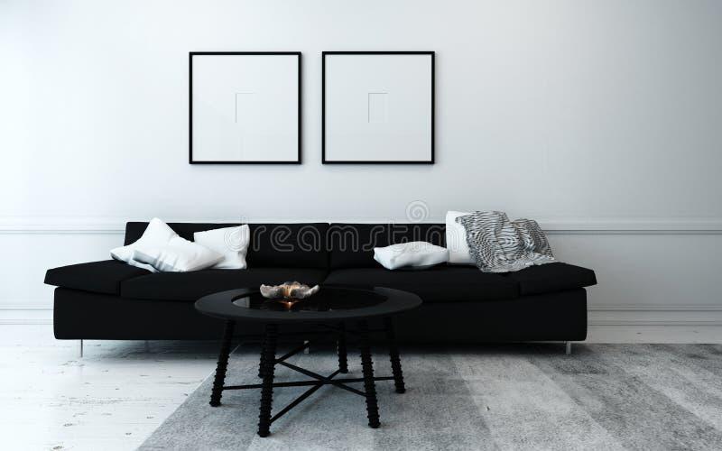 Salon contemporain noir et blanc photo stock
