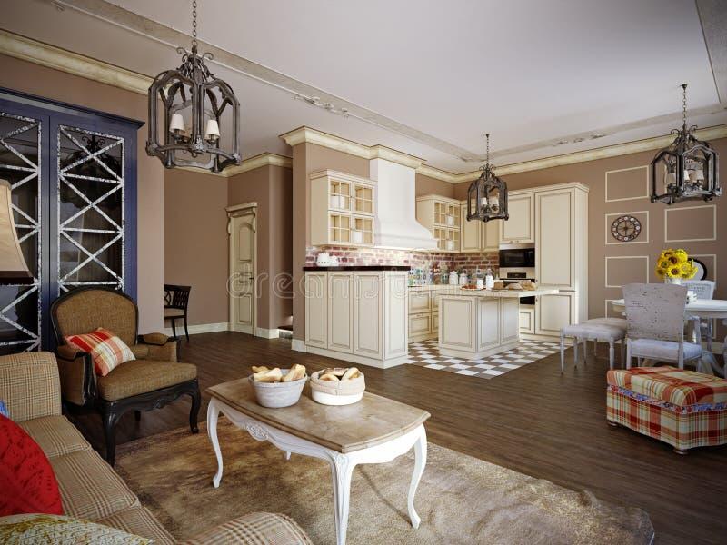 Salon, cuisine et hall dans le style de la Provence illustration libre de droits