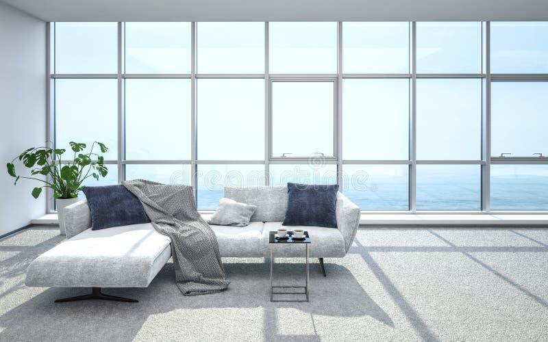 Salon d'appartement terrasse et sofa luxueux et lumineux illustration stock