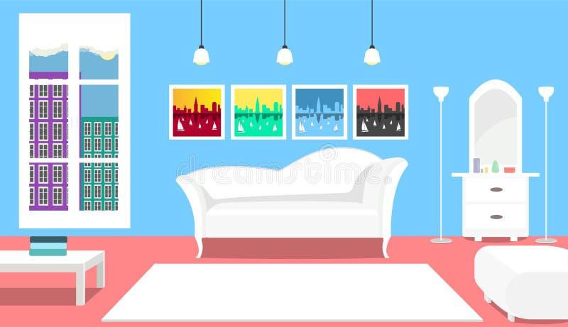Salon dans des couleurs douces avec le divan et les images modernes blancs photo libre de droits