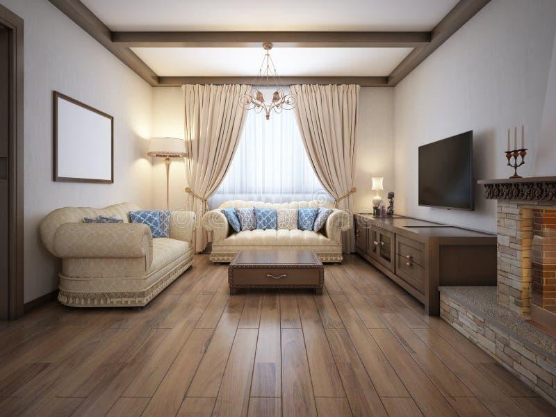 Salon dans un style rustique avec des meubles mous et une grande cheminée avec les éléments classiques illustration de vecteur