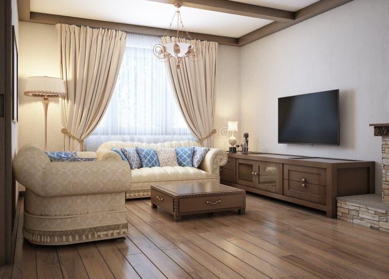 Salon dans un style rustique avec des meubles mous et une grande cheminée avec les éléments classiques illustration stock