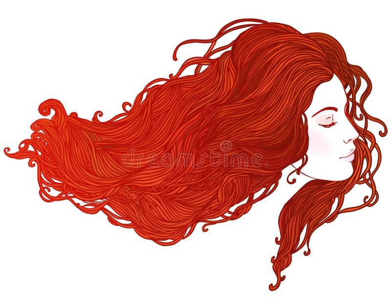 Salon de beauté : Portrait de jolie jeune femme dans l'esprit de vue de profil illustration de vecteur
