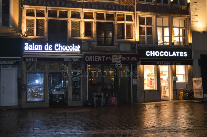 Salon DE Chocolates op het stadscentrum in Gent, België op 5 November, 2017 stock foto's
