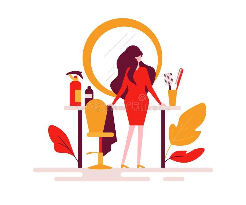 Salon de coiffure - illustration plate colorée de style de conception illustration de vecteur