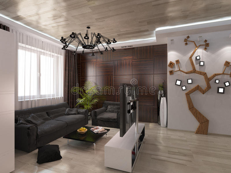 salon de conception avec des couleurs chaudes illustration. Black Bedroom Furniture Sets. Home Design Ideas