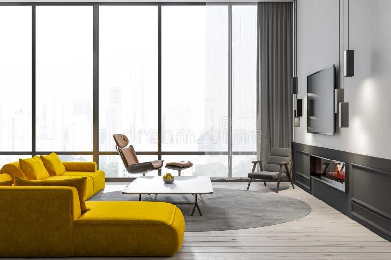 Salon de grenier avec le sofa et la TV jaunes illustration stock