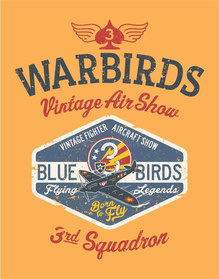 Salon de l'aéronautique de vintage d'avions de Warbirds illustration de vecteur