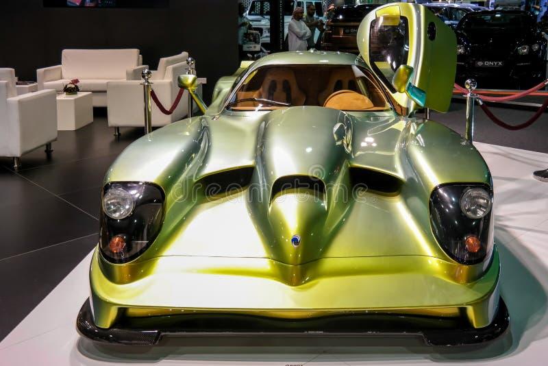 Salon de l'Automobile de Dubaï, voiture hyper rare montrée photo libre de droits