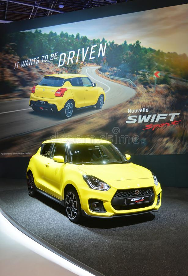 Salon de l'Automobile de Paris 2018 - Suzuki Swift Sport photo stock
