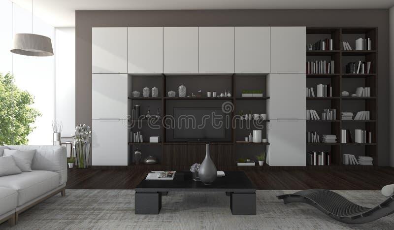 salon de luxe du rendu 3d avec la vue foncée en bois et d'arbre de la fenêtre illustration de vecteur
