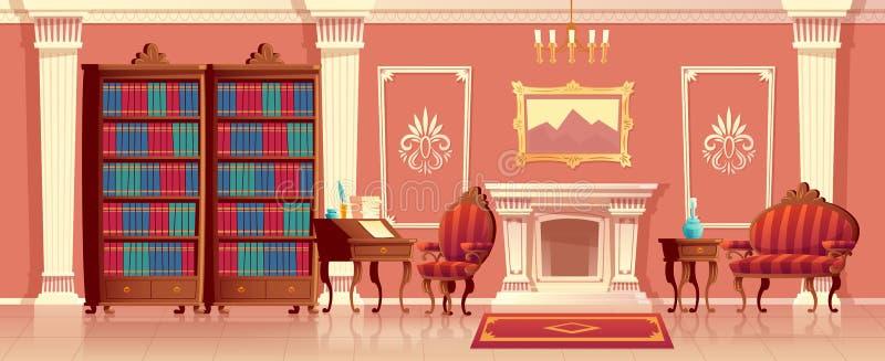 Salon de luxe de vecteur avec la cheminée illustration de vecteur