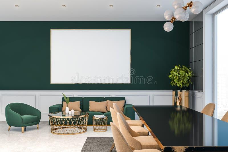 Salon De Luxe Vert Fonce Avec L Affiche Illustration Stock