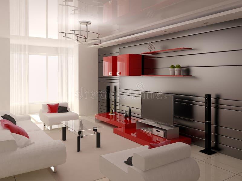 Salon de pointe avec les meubles pratiques illustration stock