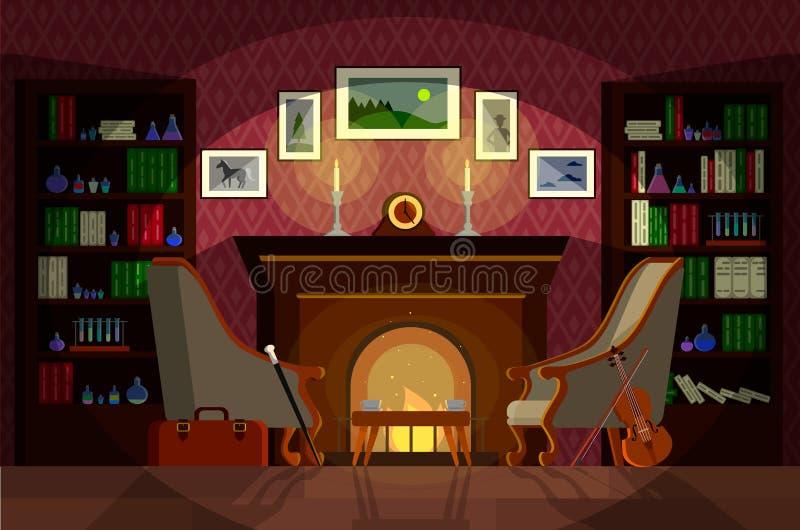 Salon de Sherlock Holmes illustration stock