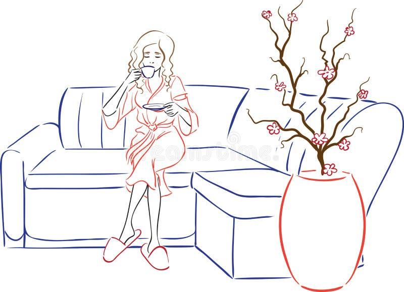 Salon de station thermale de série - la femme boit du thé après station thermale-proc illustration libre de droits