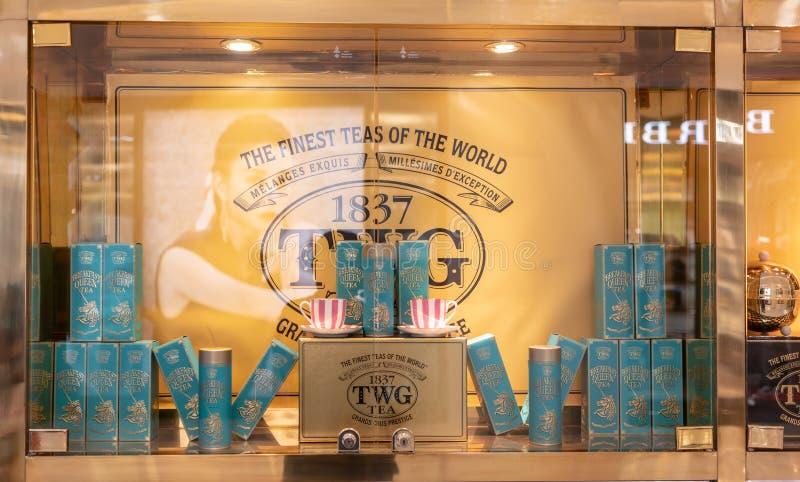 Salon de thé de TWG et café de boutique dans le centre commercial de centre commercial, Bangkok, Thaïlande, le 3 février 2019 photo libre de droits
