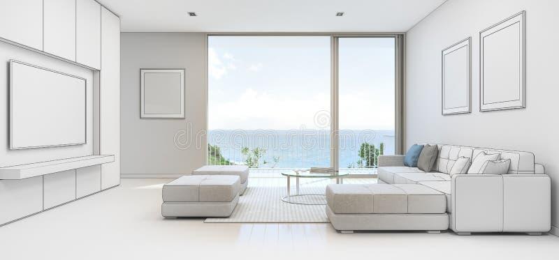 Salon de vue de mer avec la terrasse dans la maison de for Conception de croquis de plan de maison