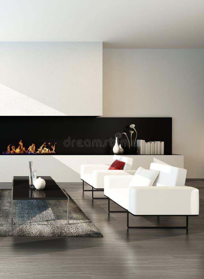 Salon desing moderne luxueux avec la cheminée illustration de vecteur