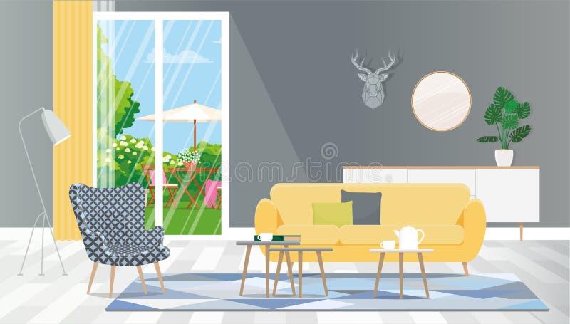 Salon donnant sur l'arrière-cour de la fenêtre Des objets de vecteur sont isolés, groupé illustration libre de droits