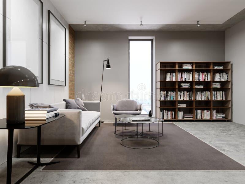 Salon et bibliothèque modernes, meubles de bibliothèque avec des livres illustration de vecteur