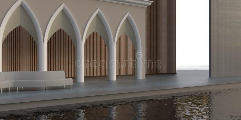 Salon externe et une promenade de chemin virtuel à l'heure et à la lumière extérieure illustration de vecteur