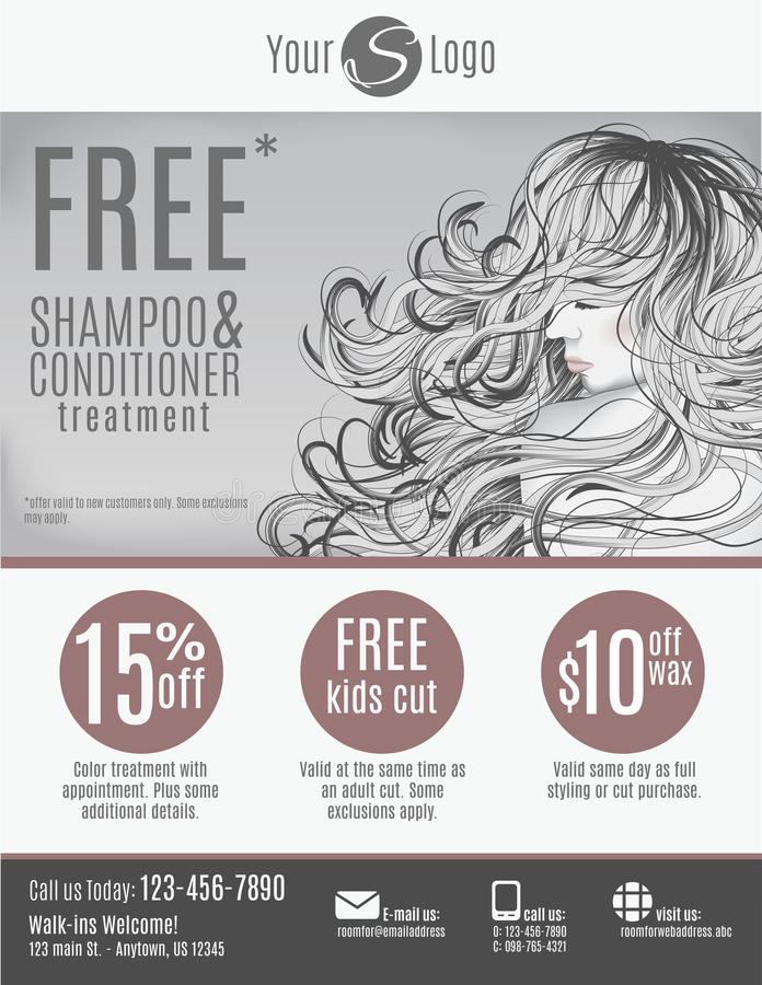 Salon flyer template design. Salon flyer template with discount coupons and advertisement showing beautiful woman with long hair in black and white royalty free illustration
