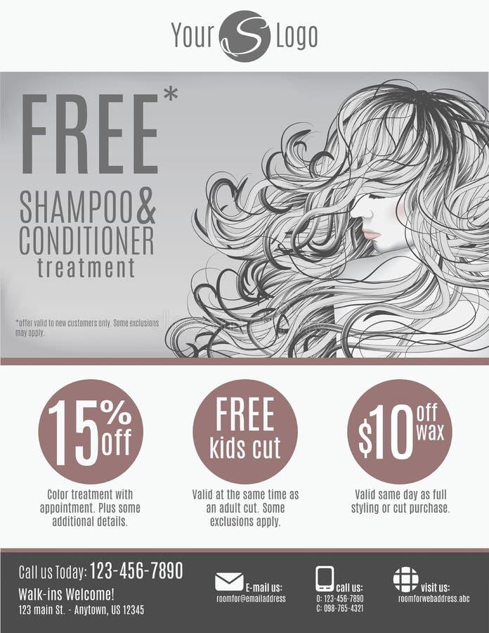 Salon flyer template design royalty free illustration
