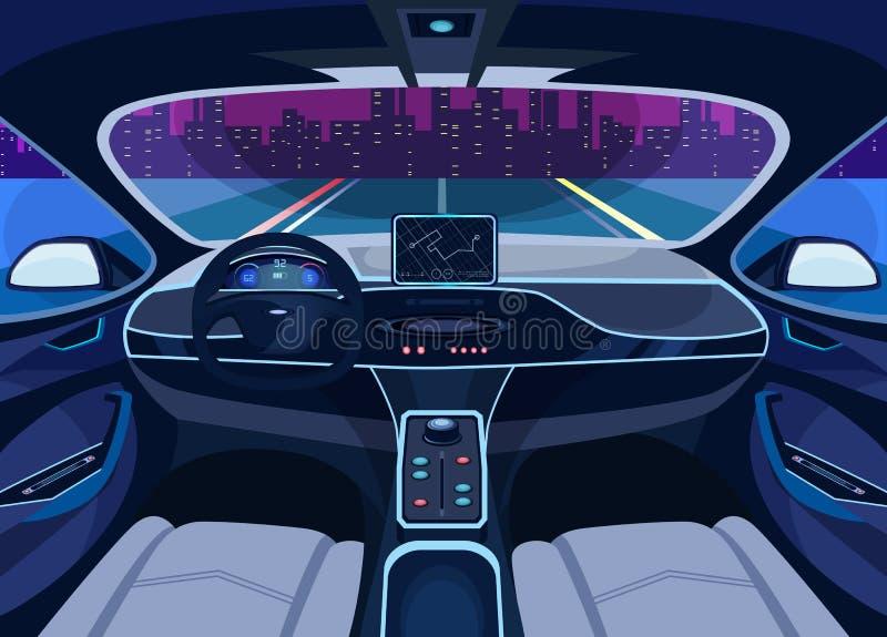 Salon futuriste de voiture avec GPS, véhicule de pilote automatique illustration stock