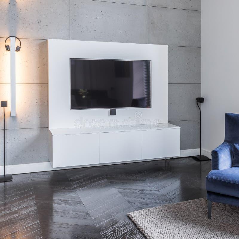 Salon gris avec la télévision photos libres de droits