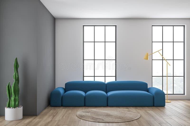 Salon gris avec le sofa image libre de droits