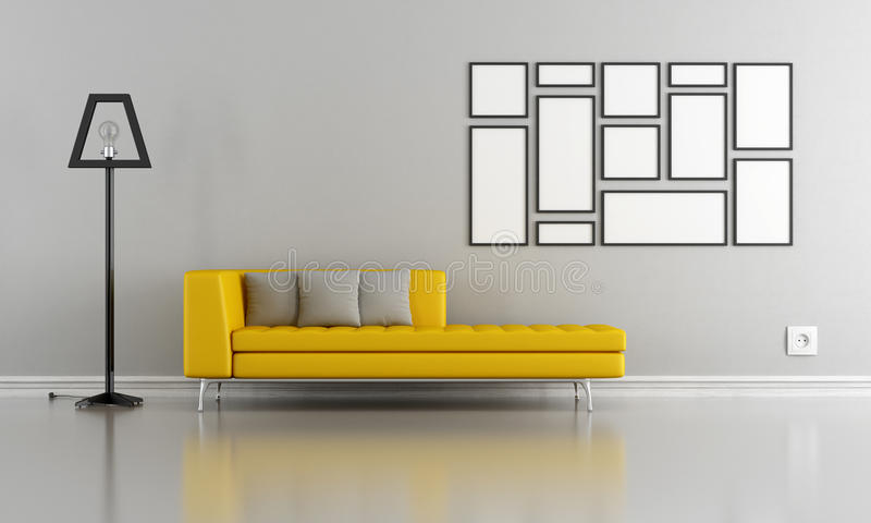 salon gris et jaune minimaliste illustration stock. Black Bedroom Furniture Sets. Home Design Ideas