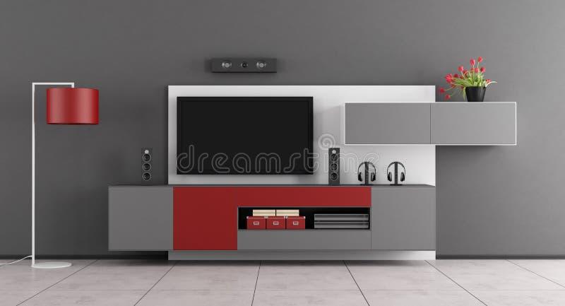 Salon gris et rouge avec TV - rendu 3d illustration libre de droits
