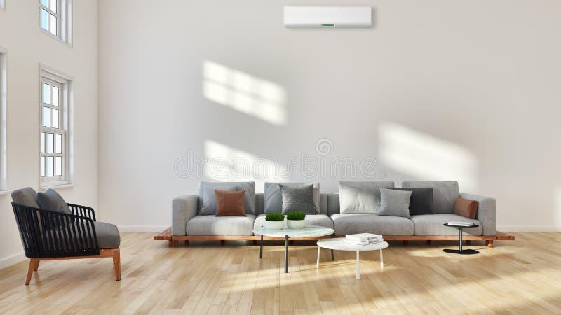 salon lumineux moderne d'intérieurs avec l'illust de climatisation photo stock