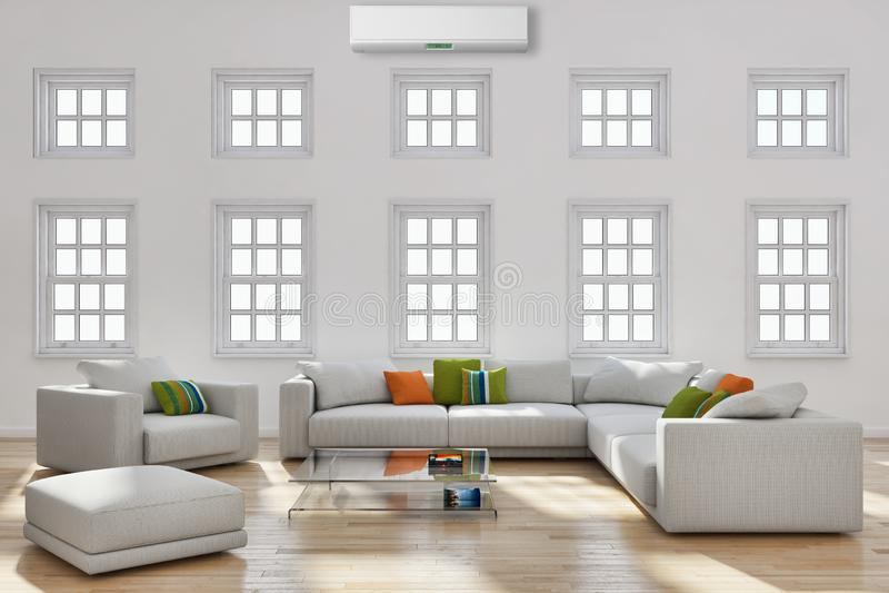 salon lumineux moderne d'intérieurs avec l'illust de climatisation photographie stock libre de droits