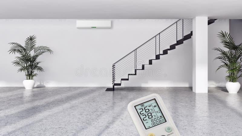 salon lumineux moderne d'intérieurs avec l'illust de climatisation photo libre de droits