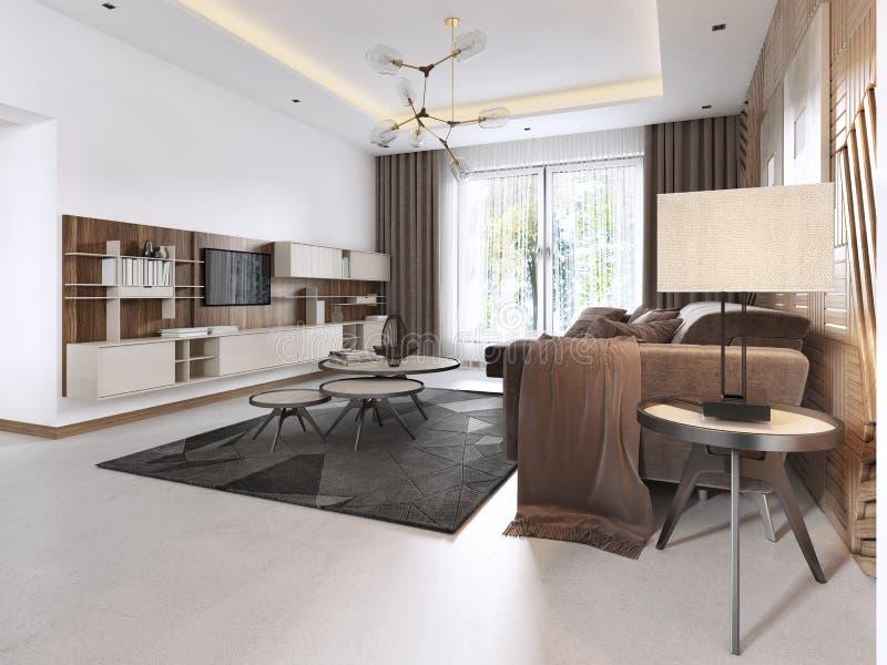 Salon Luxueux Dans Le Style Contemporain Avec Le Panneau ...