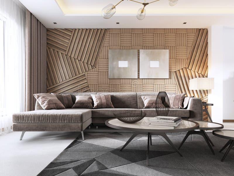 Salon luxueux dans le style contemporain avec le panneau décoratif en bois sur le mur Studio avec un sofa et diner illustration de vecteur