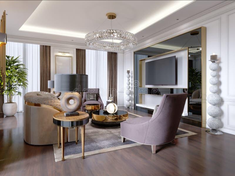 Salon luxueux dans le style moderne avec le sofa, fauteuil, meubles de concepteur, support de TV, grand chandelier décoratif, ron illustration libre de droits