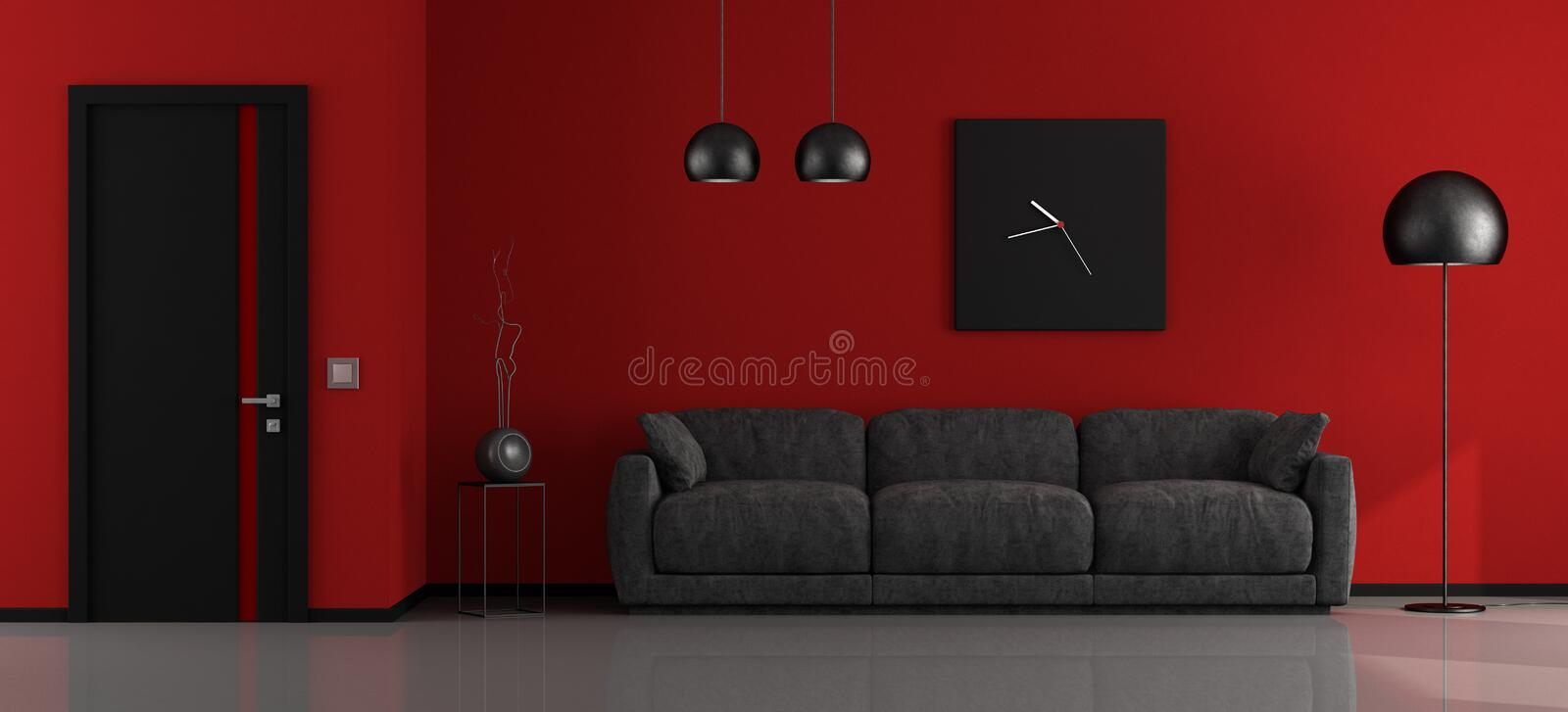 salon minimaliste noir et rouge illustration stock. Black Bedroom Furniture Sets. Home Design Ideas